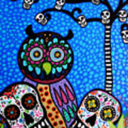 Owl And Sugar Day Of The Dead Poster by Pristine Cartera Turkus