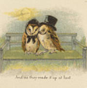 Owl Couple On Bench Poster