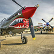 P40 Warhawk And P51d Mustang On The Ramp Poster