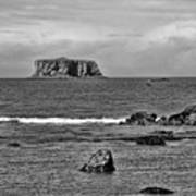 Pacific Ocean Coastal View Black And White Poster
