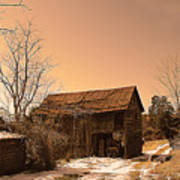 Packing Barn In Winter Poster
