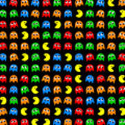 Pacman Seamless Generated Pattern Poster