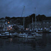 Padstow Harbor At Night Poster