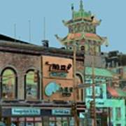 Pagoda Tower Chinatown Chicago Poster by Marianne Dow
