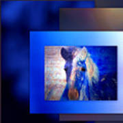 Painted Pony In Blue Poster