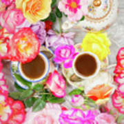 Painterly Tea Party With Fresh Garden Roses II Poster