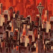 Painting 773 1 Seattle Skyline Poster