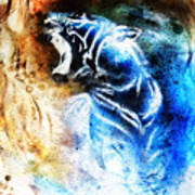 Painting Abstract Tiger Collage On Color Space Background Wildlife Animals. Poster