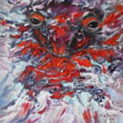 Painting Breathing Salamander In Abstract Style Poster