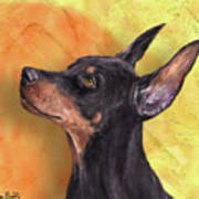 Painting Of A Cute Doberman Pinscher On Orange Background Poster