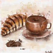 Painting Of Chocolate Delights, Pastry And Hot Cocoa Poster