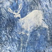 Painting Of Young Deer In Wild Landscape With High Grass. Graphic Effect. Poster
