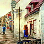 Paintings Of Quebec Landmarks Aux Anciens Canadiens Restaurant Rainy Morning October City Scene  Poster by Carole Spandau