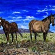 Pair Of Horses Painting Poster