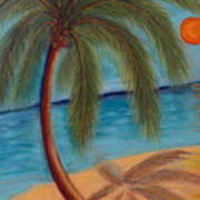 Palm Tree On The Beach Poster