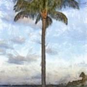 Palm Tree Pencil Poster