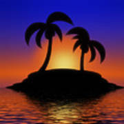 Palm Tree Sunset Poster