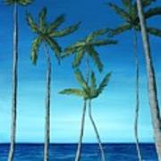 Palm Trees On Blue Poster
