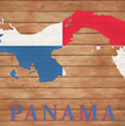 Panama Rustic Map On Wood Poster