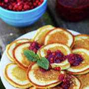 Pancakes With Cranberry Jam Poster