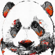 Panda Bear Art - Black White Red - By Sharon Cummings Poster