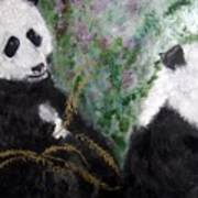 Pandas With Golden Bamboo Poster