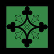 Panel - Black And Green Clover Style Greek Cross Poster