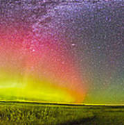 Panorama Of An Aurora And The Milky Way Poster