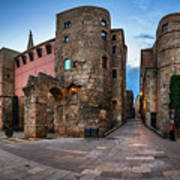 Panorama Of Ancient Roman Gate And Placa Nova In The Morning, Ba Poster