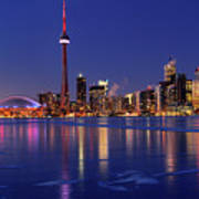 Panorama Of Frozen Ice Covered Lake Ontario Reflecting The Light Poster