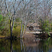Panorama Of Lake, Trees And Cabin Poster