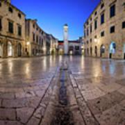 Panorama Of Stradun Street And Luza Square In Dubrovnik, Dalmati Poster