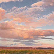 Panorama Of Twilight Clouds Over Tetilla Peak Recreation Area - Cochiti Lake New Mexico Poster