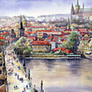 Panorama With Vltava River Charles Bridge And Prague Castle St Vit Poster