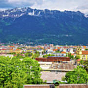 Panoramic Aerial View Of Innsbruck And Hafelekarspitze Mountain Poster