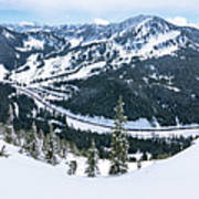 Panoramic Mountain Top View Of Popular Washington Resort Poster