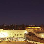 Panoramic Night View Of The Wailing Wall  Poster