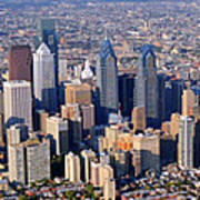 Panoramic Philly Skyline Aerial Photograph Poster
