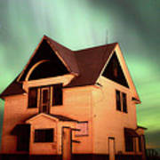 Panoramic Prairie Northern Lights And House Poster