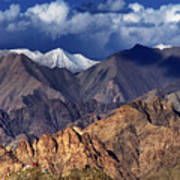 Panoramic Rocky Landscape Of Leh City Ladakh Jammu And Kashmir India Poster