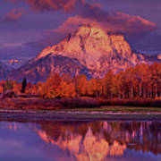 Panoramic Sunrise Oxbow Bend Grand Tetons National Park Poster