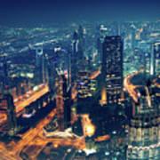 Panoramic View Of Dubai City Poster