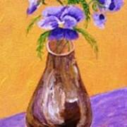 Pansies In Brown Vase Poster by Jamie Frier