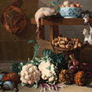 Pantry With Artichokes Cauliflowers And A Basket Of Mushrooms Poster