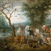 Paradise Landscape With Animals Poster