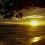 Paradise Lensflare Beach Sunset #9412 Poster