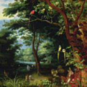 Paradise Scene With Adam And Eve Poster