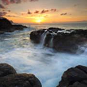 Paradise Sunset Splash Poster