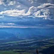 Paragliding Above Jackson Hole Poster