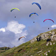 Paragliding Over Sennen Cove Poster